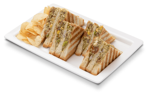 Indian style paneer vegetable grilled sandwich