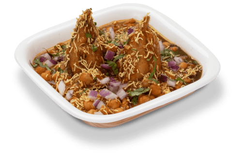 delicious samosa chole chaat